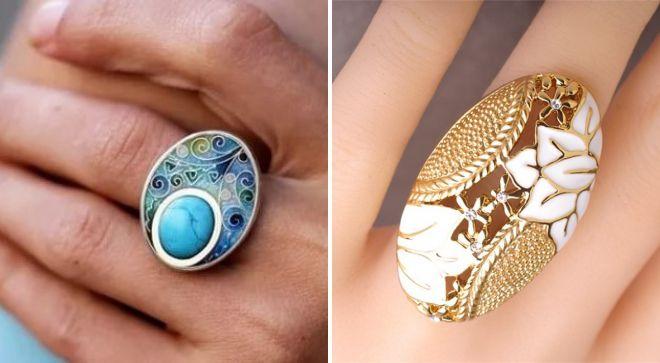 модные широкие кольца с эмалью
