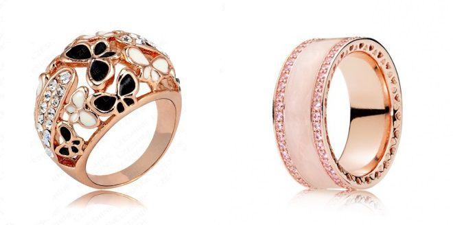 кольца с розовой эмалью 2018