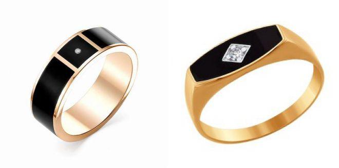 золотое кольцо с черной эмалью