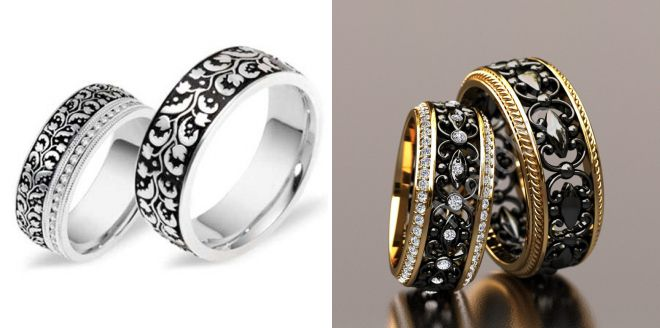 обручальные кольца с черной эмалью