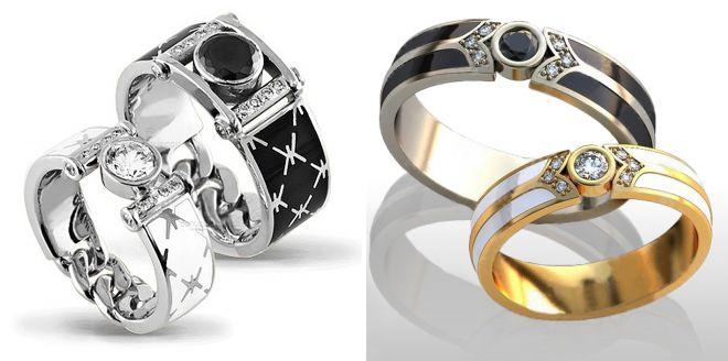 красивые обручальные кольца с эмалью