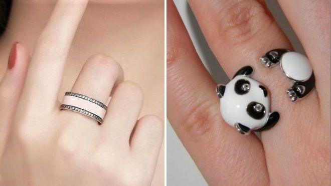 модные кольца с эмалью