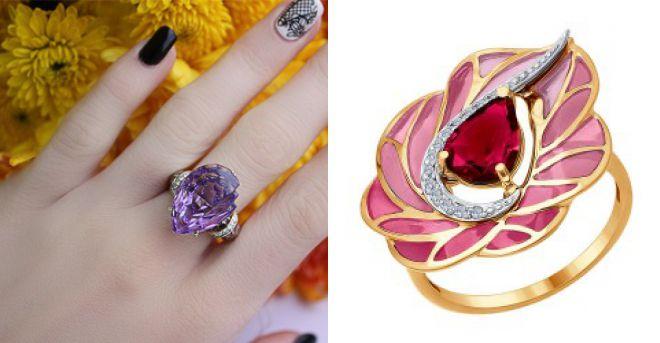 модные кольца с эмалью 2018