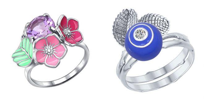 кольцо с эмалью соколов