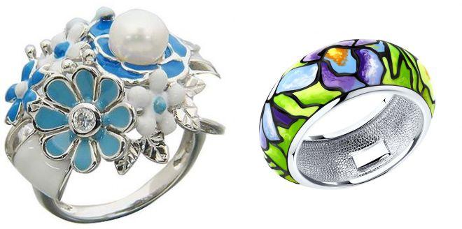 серебряные кольца с эмалью соколов