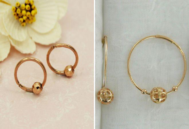 золотые серьги кольца с шариками