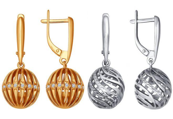 серьги шарики серебро соколов