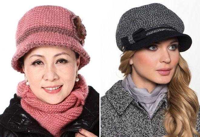 модные шапки для женщин 50 лет фетровые трикотажные объемные