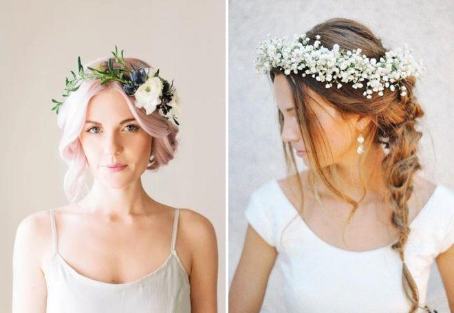 Свадебные прически с ободком из цветов 27
