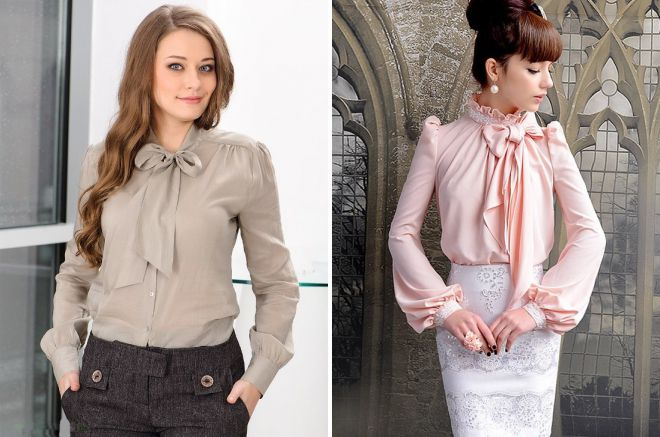 модели блузок с бантом