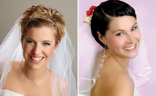 свадебные прически на короткие волосы 2018