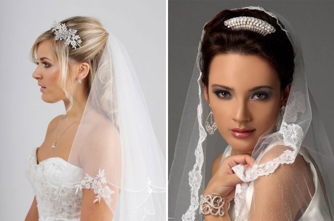 свадебные прически с фатой 2018