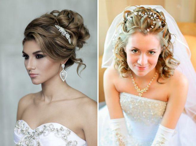 свадебные прически на средние волосы 2018
