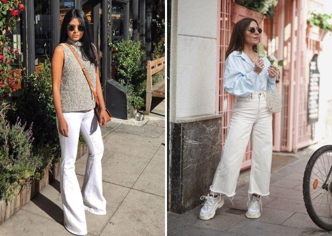 с чем носить белые джинсы клеш