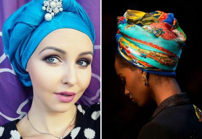 как завязать пуховый платок на голове