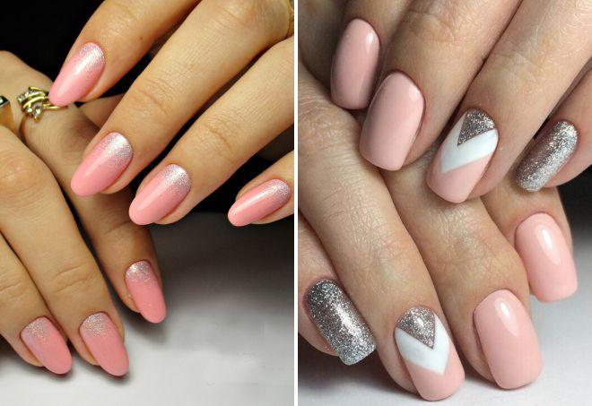 розовый маникюр 2018 с серебром