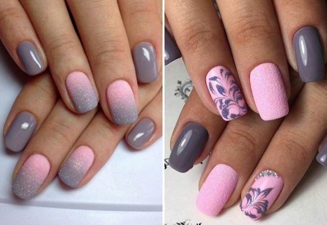 маникюр 2018 розовый с серым