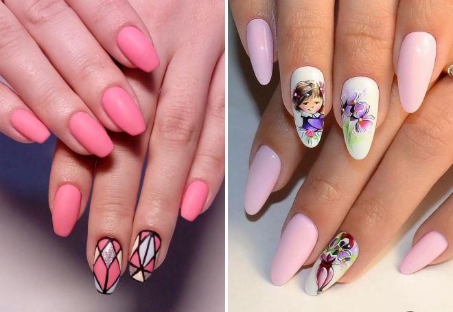 розовый маникюр 2018 на длинные ногти