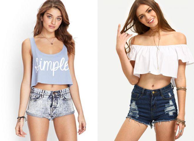 Женские шорты и топ – модные образы 54a64f3ac04af