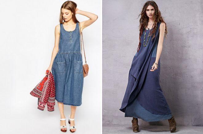 джинсовые сарафаны 2017 года модные тенденции