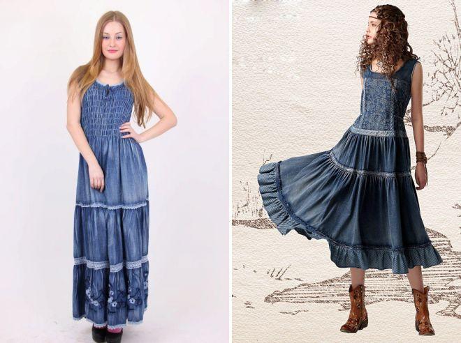 модели джинсовых сарафанов