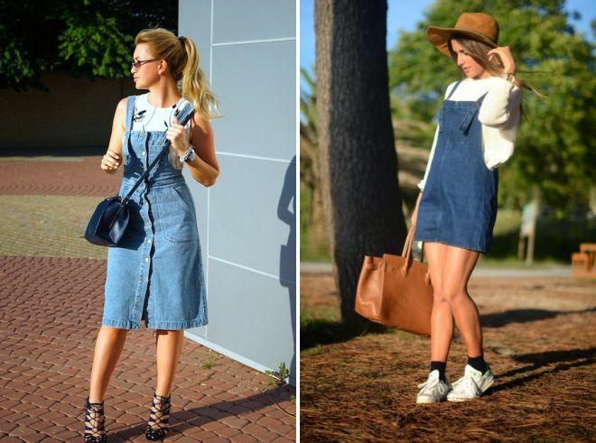 с чем носить джинсовый сарафан