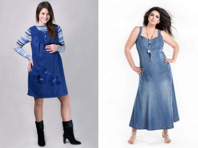 женский джинсовый сарафан для полных 2017