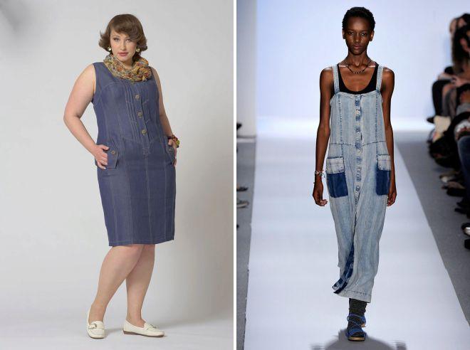 модные джинсовые сарафаны для полных