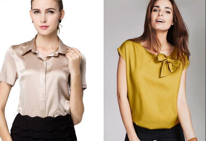 блузка из шелка с коротким рукавом