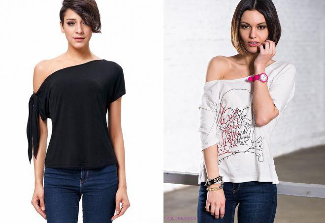женские футболки на одно плечо