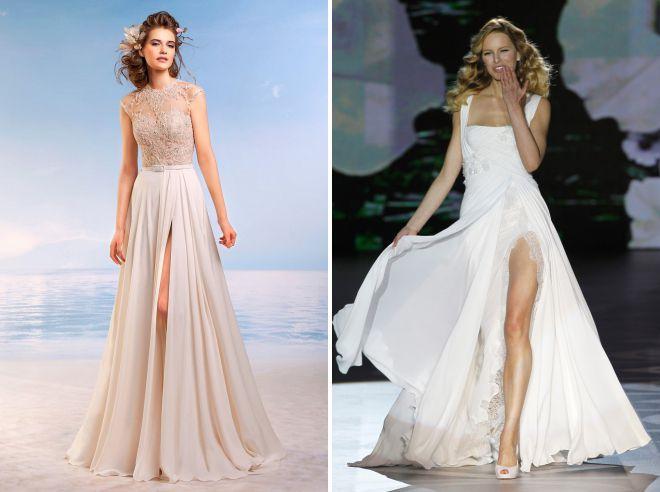 фасоны летних летящих свадебных платьев