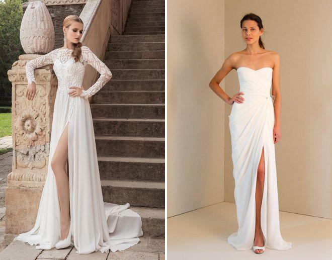 летнее свадебное платье с разрезом