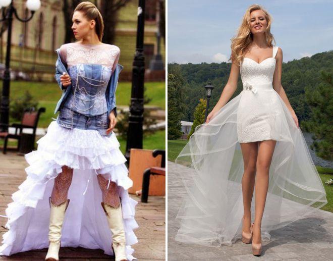 летние короткие свадебные платья