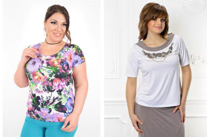 модные футболки для полных женщин