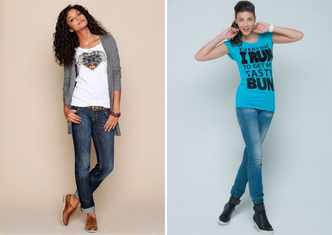 модные футболки с джинсами