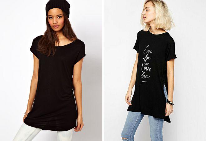 длинная черная футболка