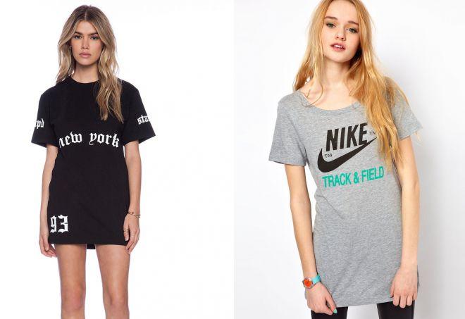 модные женские длинные футболки