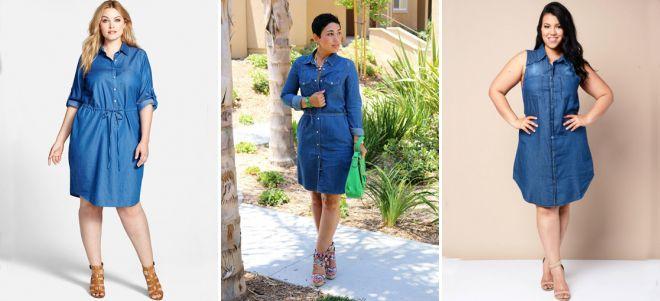 Джинсовые платья рубашки для полных женщин