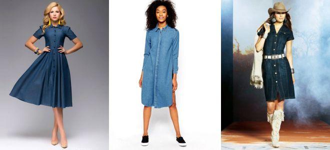 джинсовое платье рубашка средней длины