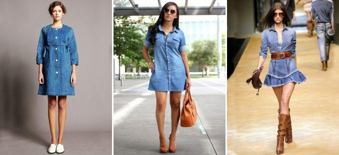 Короткое джинсовое платье рубашка
