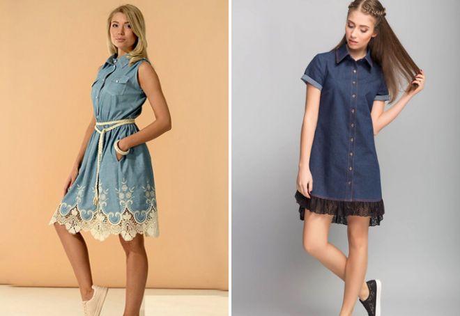 ec06bfd06e21fb1 Модное джинсовое платье-рубашка − длинное в пол, миди, короткое, с ...