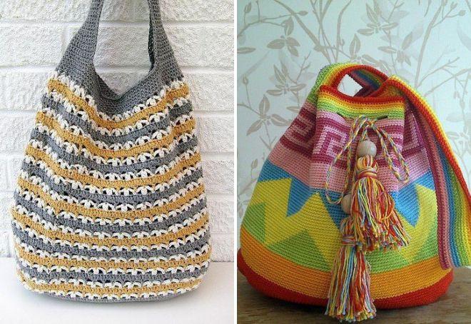 летняя вязаная сумка мешок