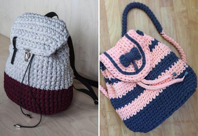 летняя вязаная сумка рюкзак
