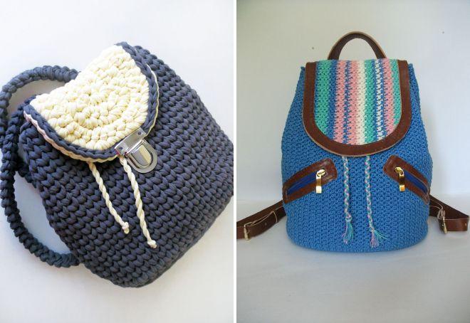 летние женские вязаные сумки рюкзаки