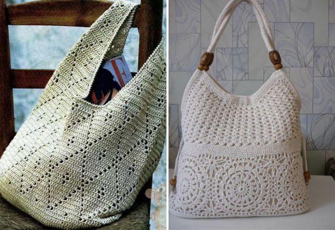 ажурная вязаная летняя сумка