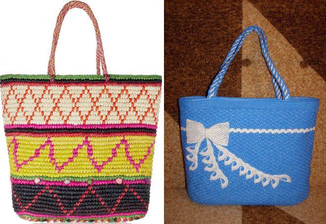 летние вязаные сумки для пляжа