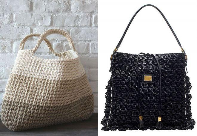 стильные вязаные летние сумки