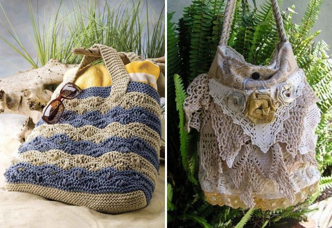 женские вязаные сумки на лето