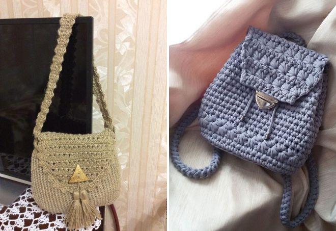 летняя вязаная сумка из джутовой нити