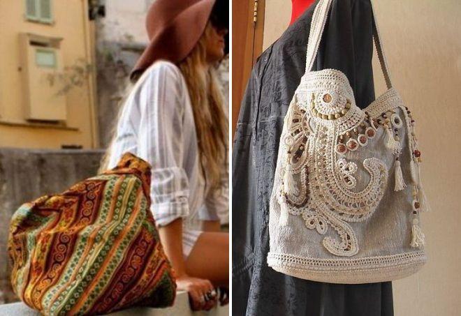 вязаная летняя сумка в стиле бохо